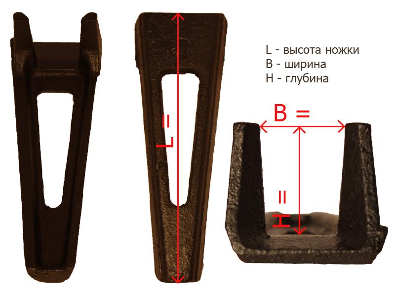 Габаритные размеры ножки № 2б
