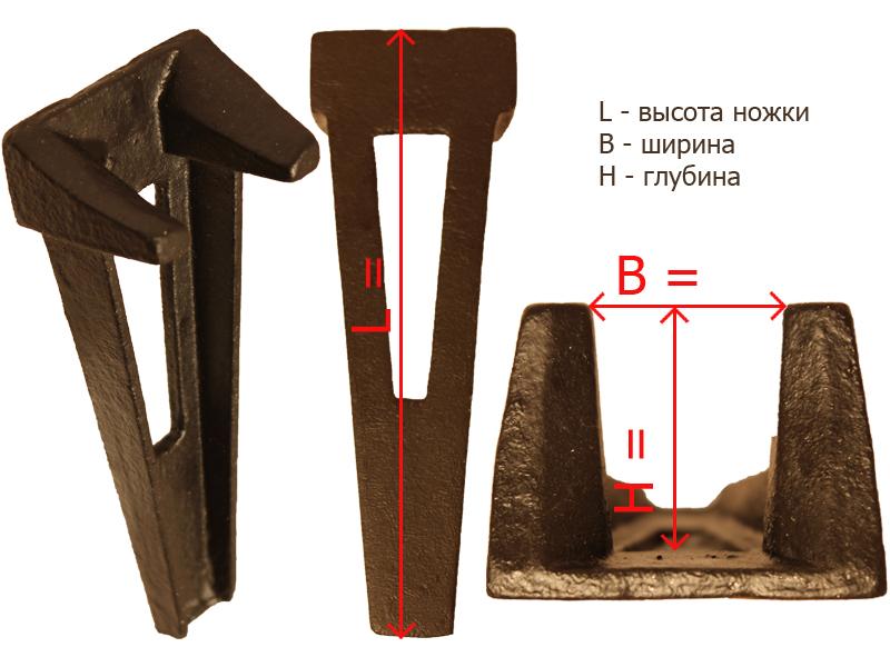 Габаритные и посадочные размеры ножки № 3