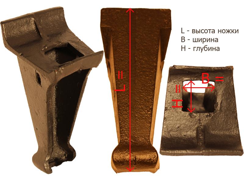 Габаритные и посадочные размеры ножки № 5