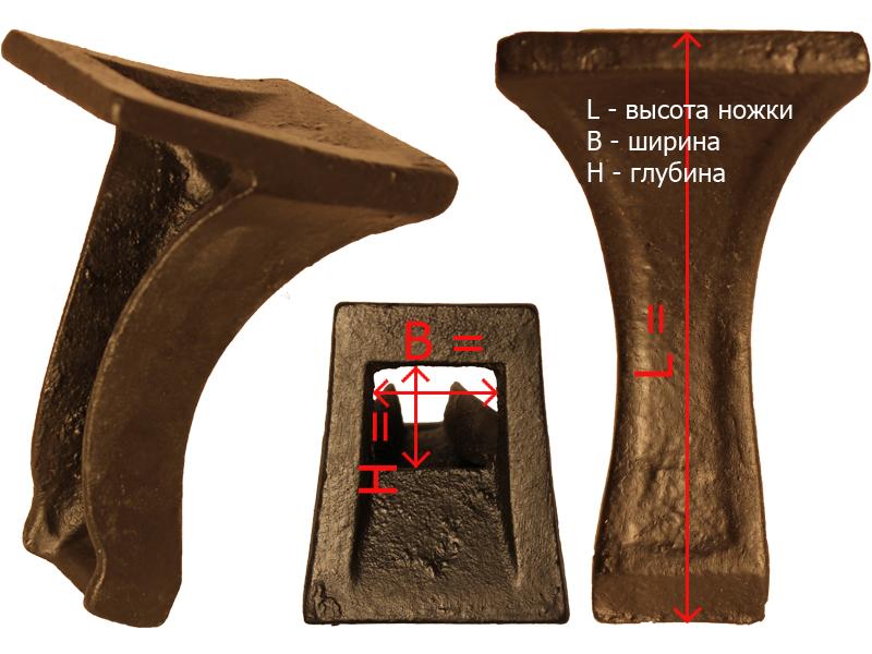 Габаритные и посадочные размеры ножки № 6