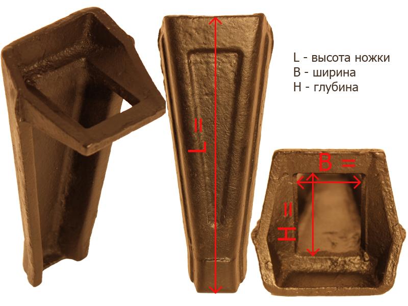 Габаритные и посадочные размеры ножки № 7
