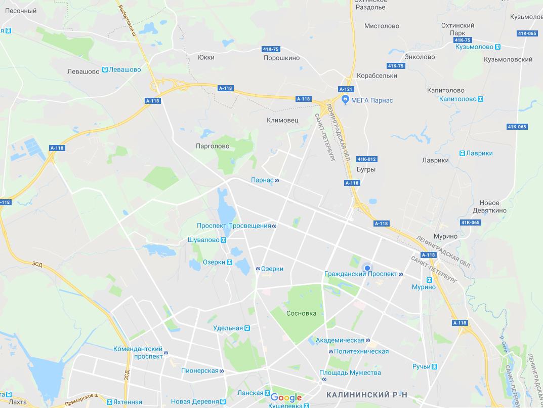 Карта территории СПб где нами осуществляется бесплатная доставка материала из Петровича